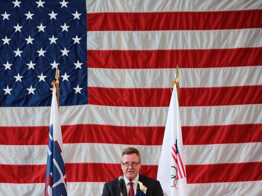 U.S. Olympic Committee CEO Scott Blackmun speaks at Tokyo American Club in Tokyo Wednesday, Aug. 2, 2017. The U.S. Olympic team will be based at the Tokyo American Club during the 2020 Tokyo Olympics, USOC officials announced on Wednesday. (AP Photo/Eugene Hoshiko)