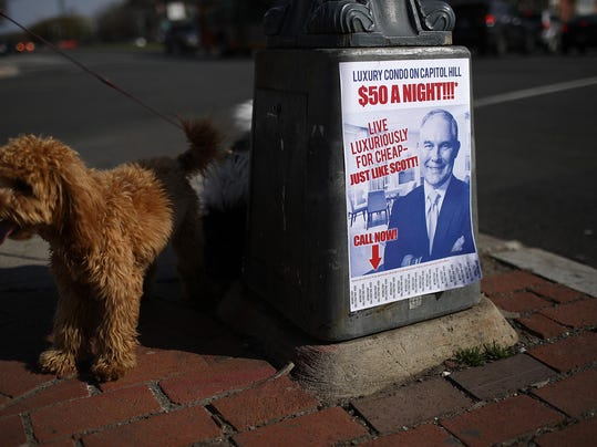 Fliers Posted Around DC Poke Fun At EPA Chief Scott Pruitt's Rented Apartment Controversy