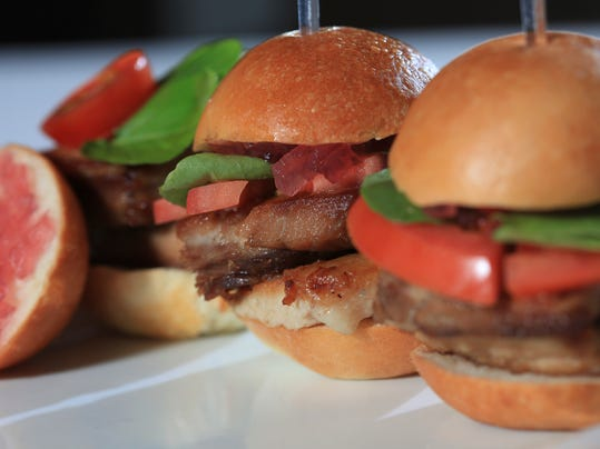 The Crispy Pork Belly Sliders with Sweet Mustard Gastrique and Red ...