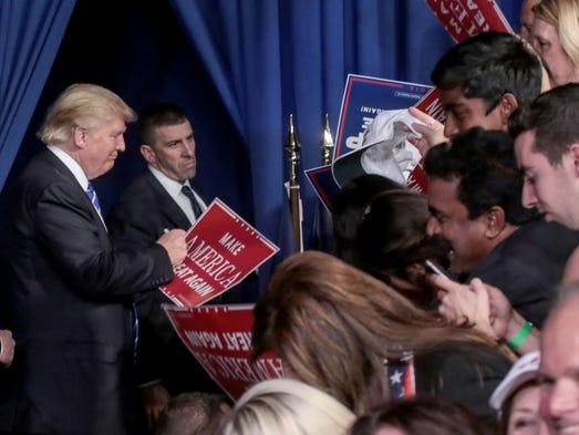 Republican presidential candidate Donald Trump prepares