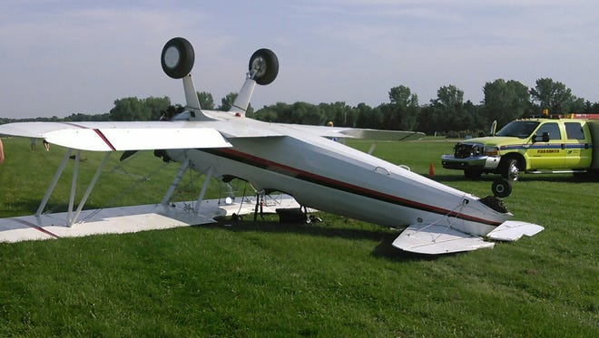 Oshkosh Police said a plane with two occupants crashed at Pioneer Airport on Sunday. One man was taken to the hospital with minor injuries.