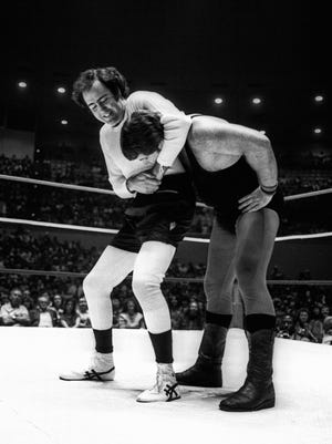Comic performance artist Andy Kaufman during a bout with Jerry Lawler at the Mid-South Coliseum in Memphis April 5, 1982.  Lawler played himself in Man in the Moon, a movie featuring Jim Carrey as Kaufman, which was released in late 1999. Kaufman died in 1984 at the age of 35. (By Thomas Busler / The Commercial Appeal)