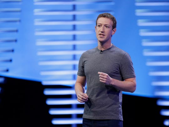 Facebook CEO Mark Zuckerberg speaking at a 2016 conference