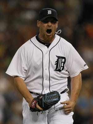 Detroit Tigers reliever Phil Coke reacts during a game June 8, 2014.