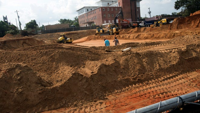 Construction of the ECUA sewage tanks off Palafox Street continues Tuesday, Sept. 19, 2017.