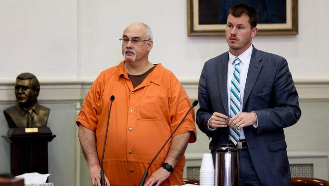 In a Dec. 8, 2017 photo, Jack Eugene Turner stands in court in Rocky Mount, Va. The Virginia Supreme Court is scheduled to hear arguments Wednesday, Jan. 10, 2018 in Richmond over whether Turner broke the law when he hung a black-faced dummy in his front yard. Turner was convicted in 2015 of violating a state law that prohibits hanging a noose to intimidate. The Virginia Court of Appeals upheld Turner's conviction in 2016.
