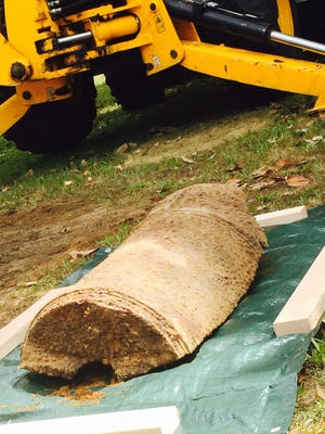An archaeological team and county public works employees unearthed this three-foot section of the breech end of a Revolutionary War cannon in National Park. Researchers say it may have exploded at Fort Mercer in 1977.