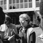 -  -Text: ** FILE ** Mary McGrory speaks to reporters about the closing of The Washington Star outside the building in Washington on July 23, 1981. McGrory was a political columnist for the paper. (AP Photo/Barry Thumma, File)