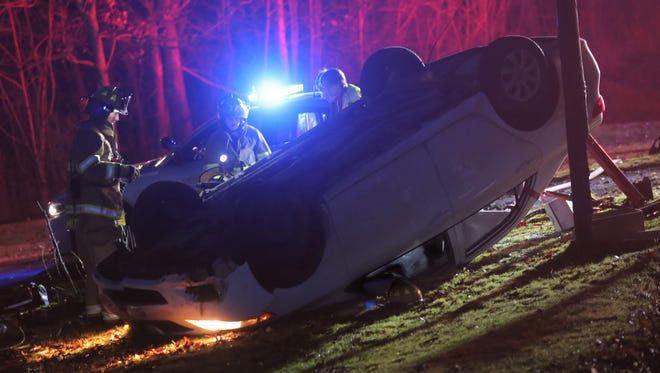 First responders answer the call of a roll over on West Hanley Road on Friday evening.