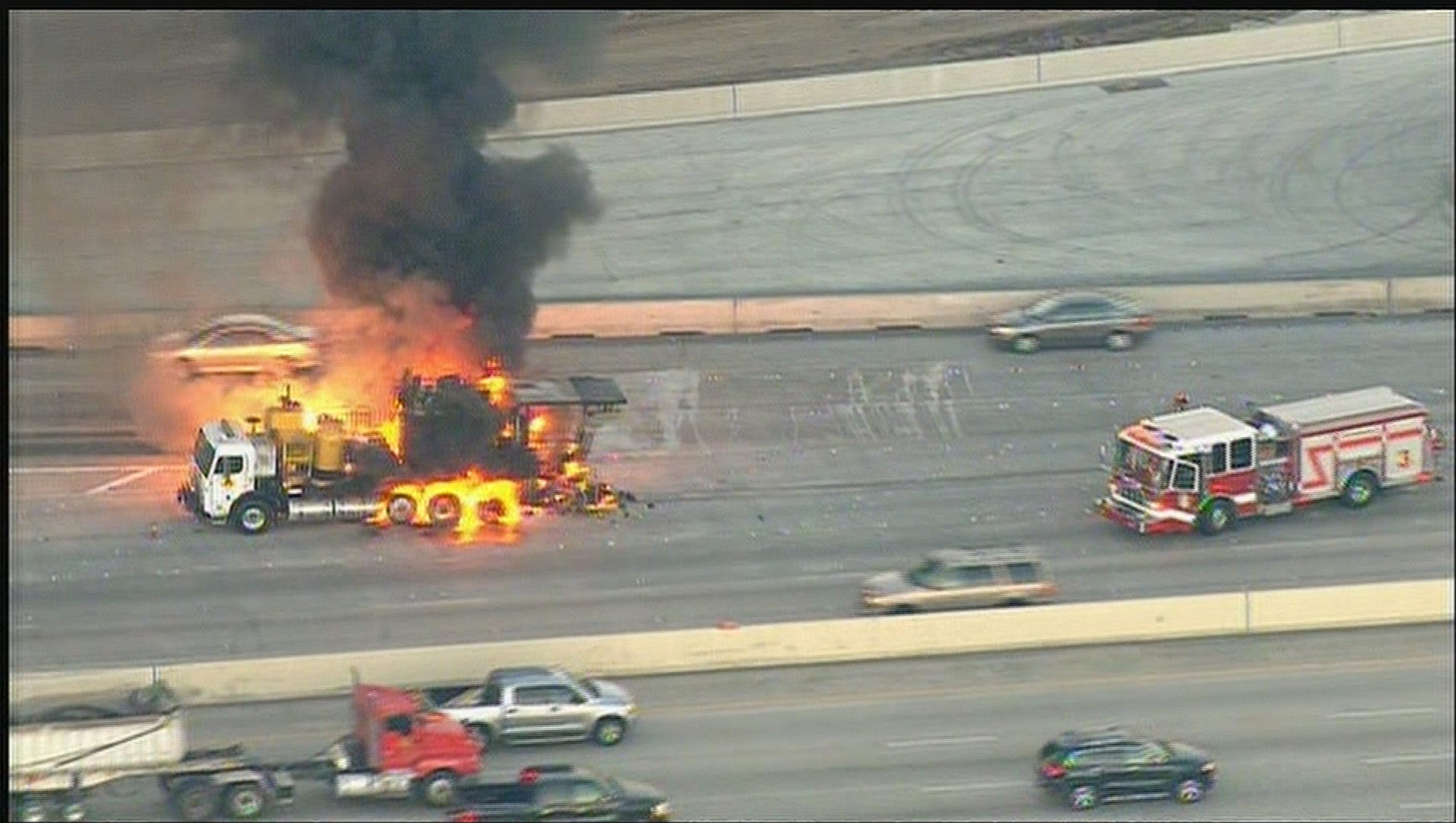Road striping truck catches fire, slows traffic on West Loop