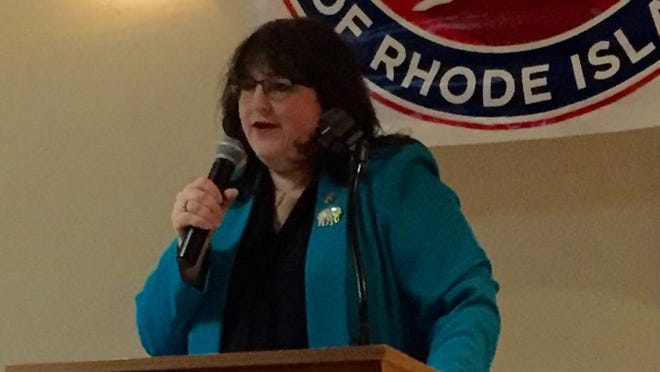 Lee Ann Sennick, Rhode Island's national Republican committeewoman, speaking at the annual RIGOP meeting in Cranston in 2017.