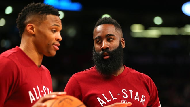 Russell Westbrook and James Harden are leading contenders for the NBA MVP award this season.