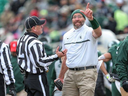 Michigan State offensive line coach Mark Staten talks