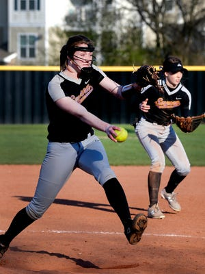 Smyrna's Lily Soverns (7) pitches against Battle Ground Academy on Thursday March 22, 2018.