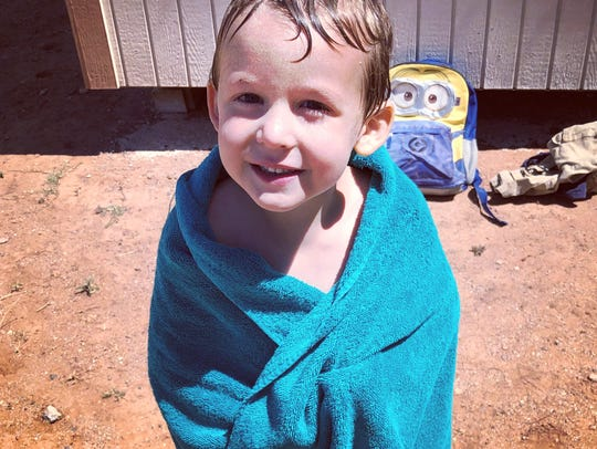Four-year-old Ezra Brunner was rushed to the hospital