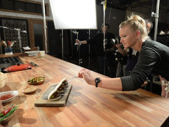 Food stylist Hayley Christopher and camera operator
