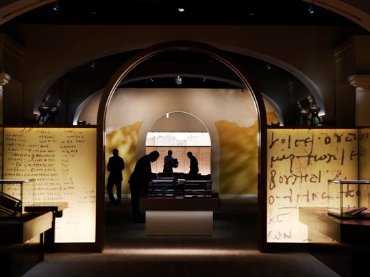 Exhibits are readied inside the Museum of the Bible in Washington, D.C.
