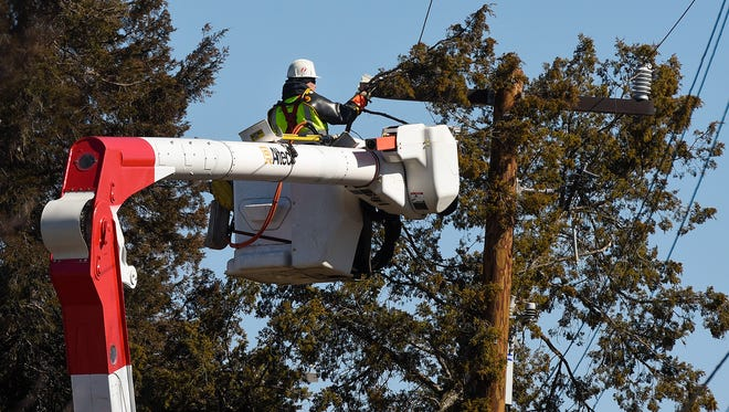 Crews from Xcel Energy remove a large tree that fell onto power lines because of high winds Wednesday, March 8, along 19 1/2 Avenue South near St. Germain Street. Power was off for only a short time so the work could be done safely.