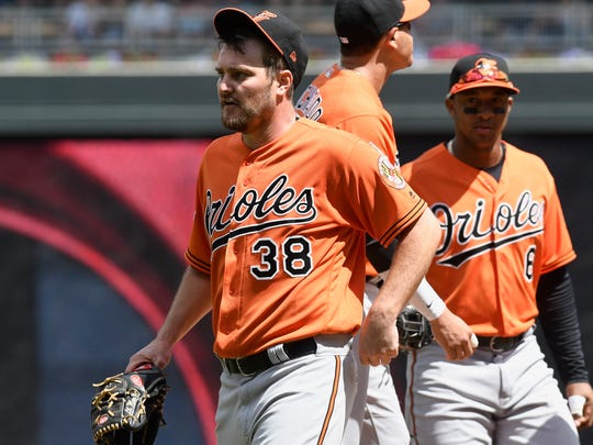 Baltimore Orioles starting pitcher Wade Miley (38) leaves the mound after being pulled in the eighth inning of a baseball game against the Minnesota Twins, Saturday, July 8, 2017, in Minneapolis. The Orioles won 5-1. (AP Photo/Tom Olmscheid)