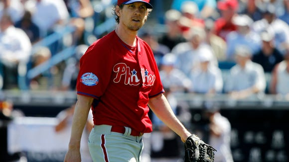Phillies relief pitcher Kevin Slowey (59) walks back to the dugout at the end of the second inning March 4 against the New York Yankees  at a spring training game at George M. Steinbrenner Field. Credit: Kim Klement-USA TODAY Sports