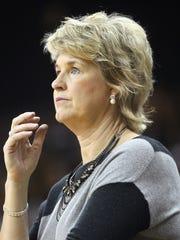 Iowa head coach Lisa Bluder watches her team during