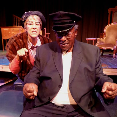 """Jane E. Ballurio as Miss Daisy Werthan, John Craft as Boolie Werthan and Tommy Crawford as Hoke Colburn in the ShenanArts production of """"Driving Miss Daisy."""""""