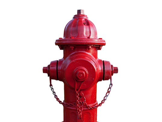 Red fire hydrant with white background