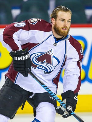Colorado Avalanche center Ryan O'Reilly skates during the warm-up period at Scotiabank Saddledome in Calgary, Alberta.