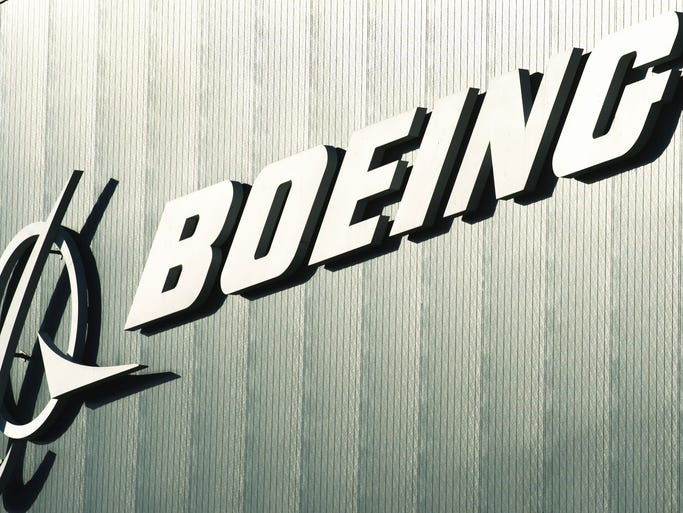 The Boeing logo is seen at one of the company's facilities in North Charleston, S.C.
