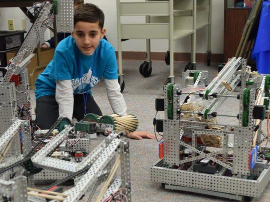 Jeffrey Cullis, 12, of Vineland, a member of Robotecs,