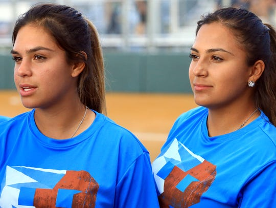 Beeville's Aaliyah Ruiz (left) and Felixia Hinojosa, seen here during a pep rally before the team went to the Class 4A state tournament in May, were named to the Hooks South Texas Preseason Small School Softball All-Star Team on Tuesday.