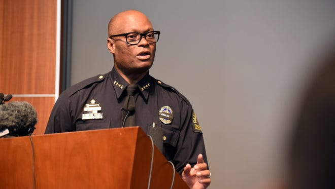 Dallas Police Chief David Brown answers questions during a news conference on July 11, 2016, in Dallas, Texas.