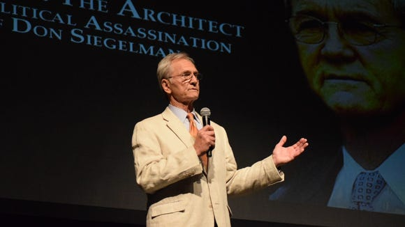 """Former Alabama Gov. Don Siegelman speaks at the Davis Theatre in Montgomery, Ala. on Oct. 1, 2017. Siegelman spoke before a documentary, """"Atticus vs. the Architect"""" which argues his 2006 convictions on bribery and corruption charges were politically motivated."""