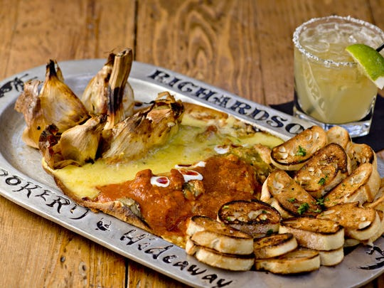 The roasted elephant garlic appetizer and Grand Marnier margarita from Richardson's in Phoenix.