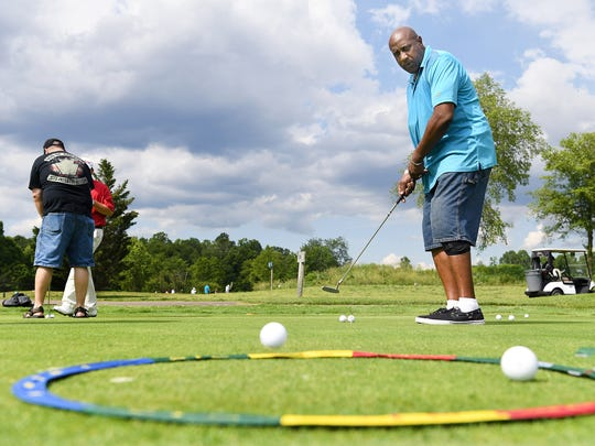 Kenneth Merritt works on his putting technique at Broadmoor Golf Links during a PGA HOPE (helping our patriots everywhere) clinic on Tuesday, May 30, 2017. The weekly program lasting about seven weeks aims to help veterans by teaching them the sport of golf.