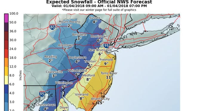 Snowfall predictions for Jan. 4, 2018,from the National Weather Service