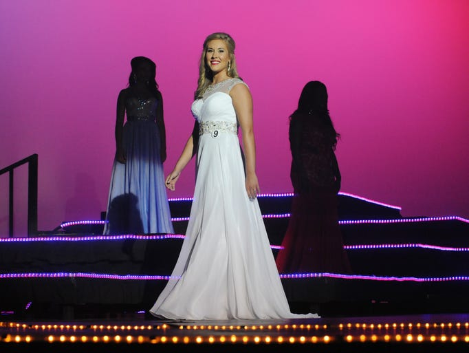 Kayla Purvis, Miss Hattiesburg, competes in the 2014 Miss Hospitality Pageant at the Saenger Theater.