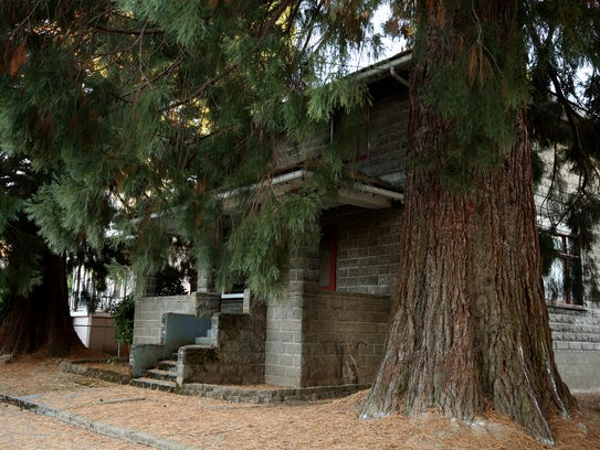 Two sequoia trees in front of a historic home on Chemeketa