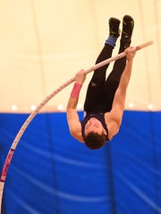 Old Tappan's Seth Kricheff on his way to winning the state title in pole vault at the Indoor Track and Field Championships at John Bennett Indoor Sports Complex in Toms River on Saturday, Feb. 25, 2017.