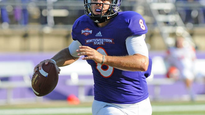 Northwestern State quarterback Zach Adkins needs 540 passing yards to better Brad Laird's career mark of 6,178.