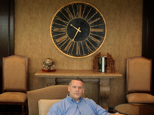 """John Entsminger, general manager of the Southern Nevada Water Authority, speaks during an interview at his Las Vegas office. Entsminger said he expects the region will need to learn """"how to live with less water."""""""