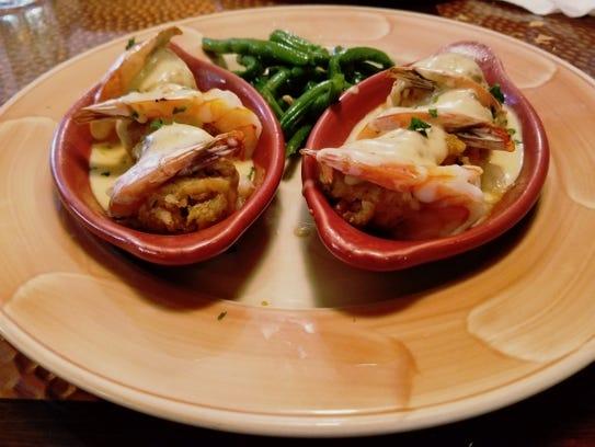 Palm City Grill's Nantucket-stuffed shrimp was six