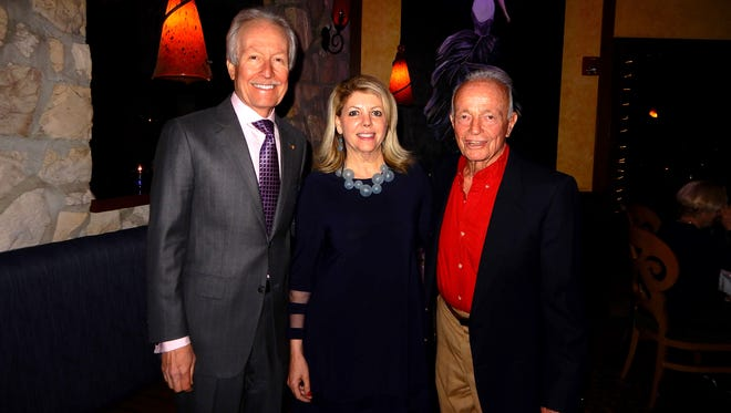 (left to right) Larry Pitts, President of Palm Springs Friends of Philharmonic, Cathy Pitts, and Paul Symons.