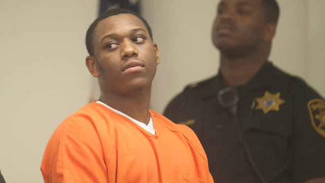 Daikwon Alford, 18, of Camden, is arraigned in Superior Court in Camden on charges of first-degree murder and two counts of attempted murder. Alford and a codefendant are accused of killing 18-year-old Tyimer Q. Bright of Camden and wounding two juvenile females during a shooting outside a party on the 2800 block of Crescent Boulevard in Haddon Township on April 5th. Friday, October 2, 2015.