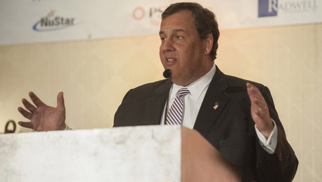 Gov. Chris Christie addresses the Southern New Jersey Chamber of Commerce Wednesday at the Crowne Plaza Hotel in Cherry Hill.