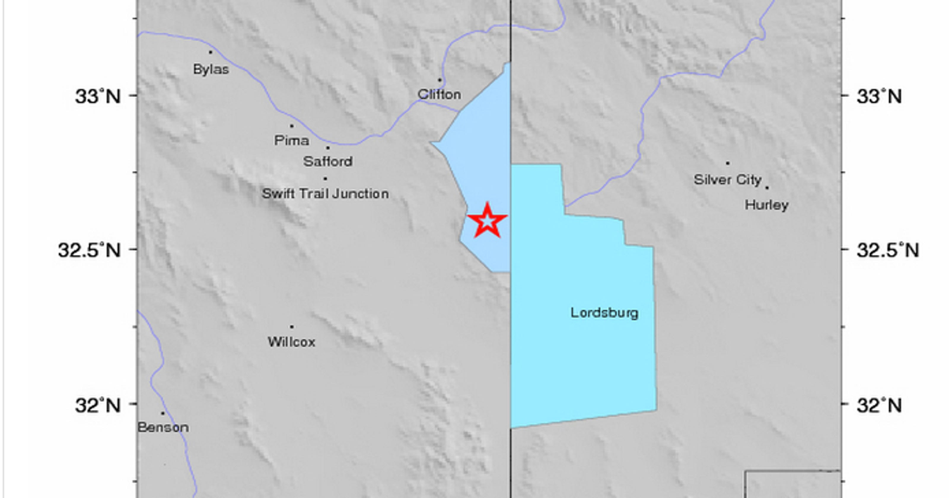 Map Of Eastern Arizona.Earthquake Shakes Eastern Arizona Town