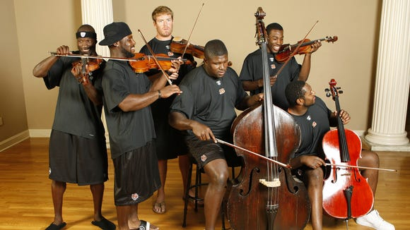 The Cincinnati Bengals offensive players Chad Johnson, Rudi Johnson, Carson Palmer, Willie Anderson, Kenny Irons and Levi Jones perform at Music Hall for the Bengals Special Section Wednesday June 13, 2007.