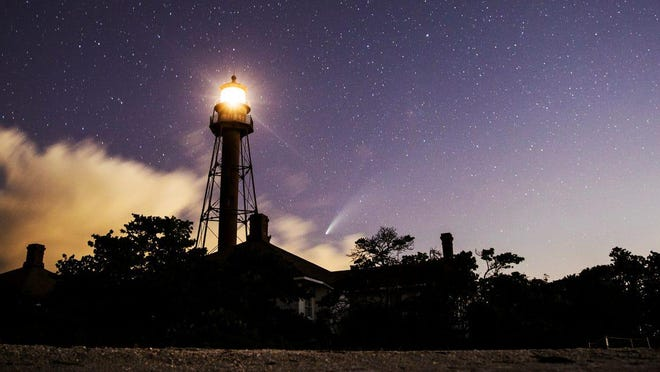 Comet Neowise can be seen from the Sanibel Lighthouse area on Sunday night after sunset on July 19 in Fort Myers, Fla.