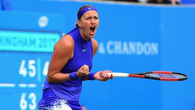 Petra Kvitova of Czech Republic celebrates winning the second set during the Aegon Classic Birmingham Final.