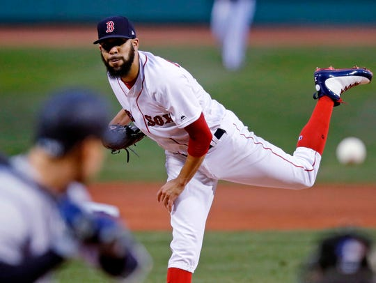 Boston Red Sox starting pitcher David Price delivers